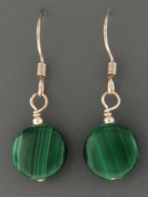 Malachite Earrings - Sterling Silver - 10mm stones - M510