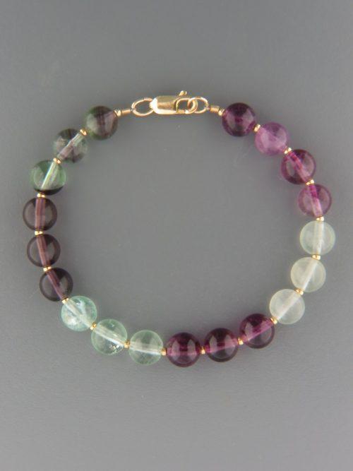 Fluorite Bracelet - 8mm round stones with 2mm round beads - F906