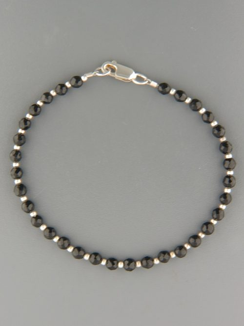 Onyx Bracelet - 4mm round faceted stones with round beads - OX919