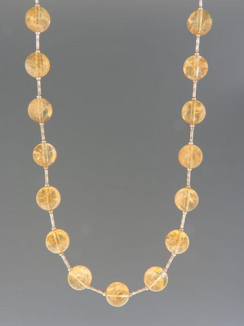 Citrine Necklace - 10mm round with twist beads - 49cm - C028