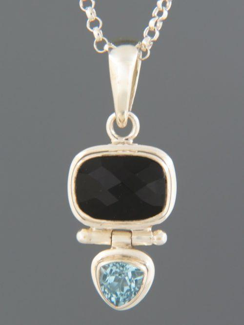 Onyx & Blue Topaz Pendant - Sterling Silver - OX333