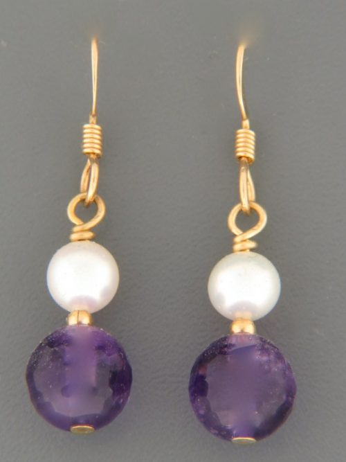 Amethyst Earrings with Pearls - 14ct Gold Filled - A502G
