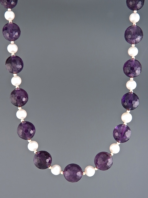Amethyst Necklace with Pearls - 10mm round facets - A116