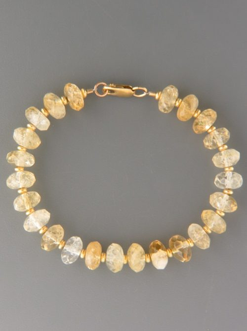 Citrine Bracelet - faceted roundels with gold beads - C911