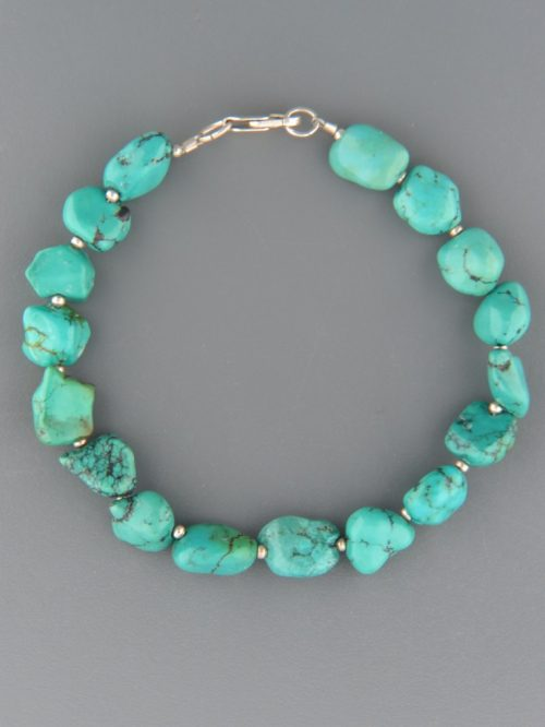 Turquoise Bracelet - irregular nuggets with Sterling Silver beads - TQ920