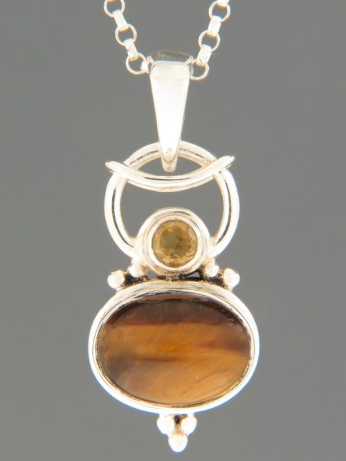 Tiger Eye Pendant with Citrine - Sterling Silver - X330