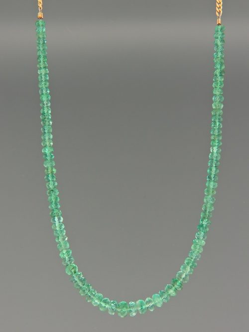 Emerald Necklace - faceted roundels with gold chain - E045