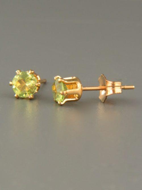 Peridot Earrings - Gold stud - 4mm stones - P504G