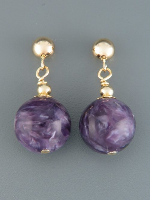 Charoite Earrings - 14ct Gold Filled stud - 12mm stones - CH515GZ