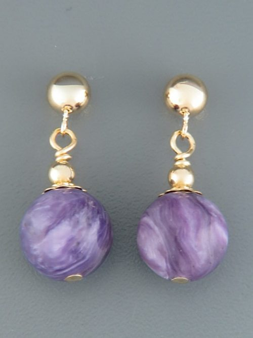 Charoite Earrings - 14ct Gold Filled stud - 10mm stones - CH501GZ