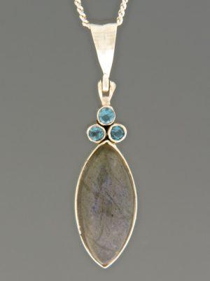 Labradorite Pendant with Blue Topaz - Sterling Silver - LAB348