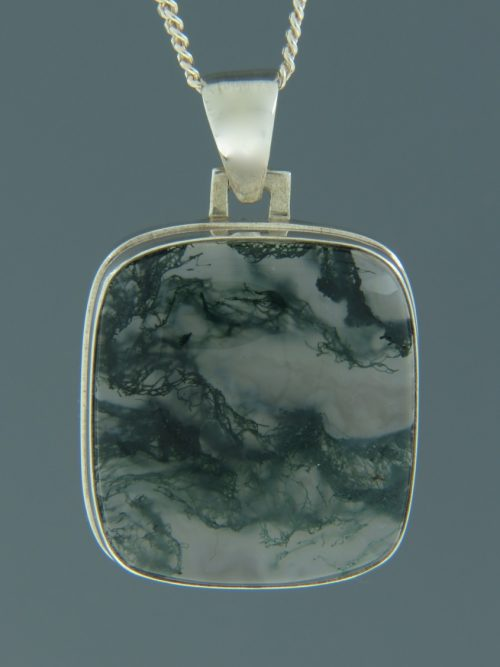 Moss Agate Pendant - Sterling Silver - MA303