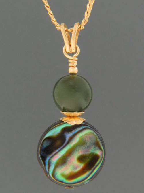 Paua Shell Pendant with Jade - 9ct Gold - J415G