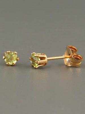 Peridot Earrings - Gold stud - 3mm stones - P503G