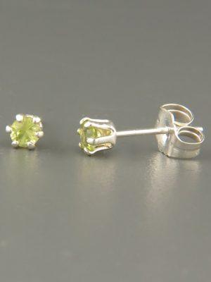 Peridot Earrings - Sterling Silver stud - 3mm stones - P503