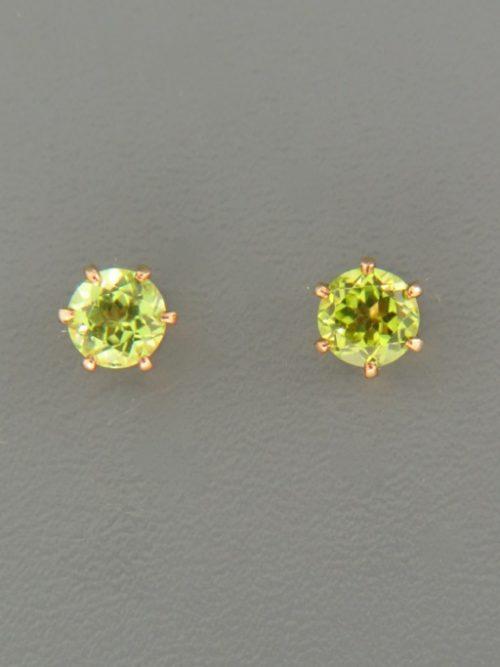Peridot Earrings - Gold stud - 5mm stones - P505G