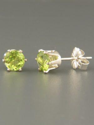 Peridot Earrings - Sterling Silver stud - 5mm stones - P505