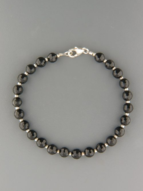 Onyx Bracelet - 6mm round faceted stones with Silver beads - OX906