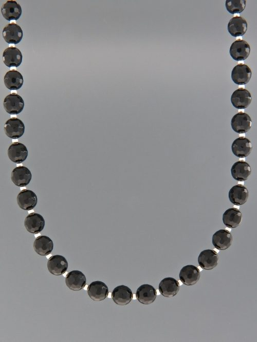 Onyx Necklace - 6mm round faceted stones with Silver beads - OX006