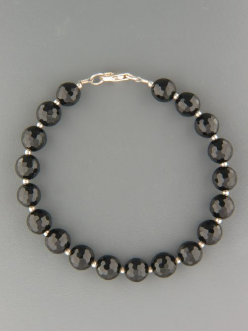 Onyx Bracelet - 8mm round faceted stones with round beads - OX908