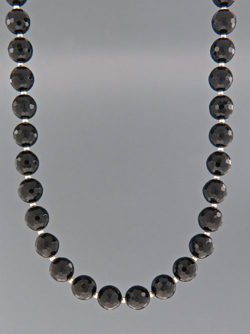 Onyx Necklace - 8mm round faceted stones with Silver beads - OX008