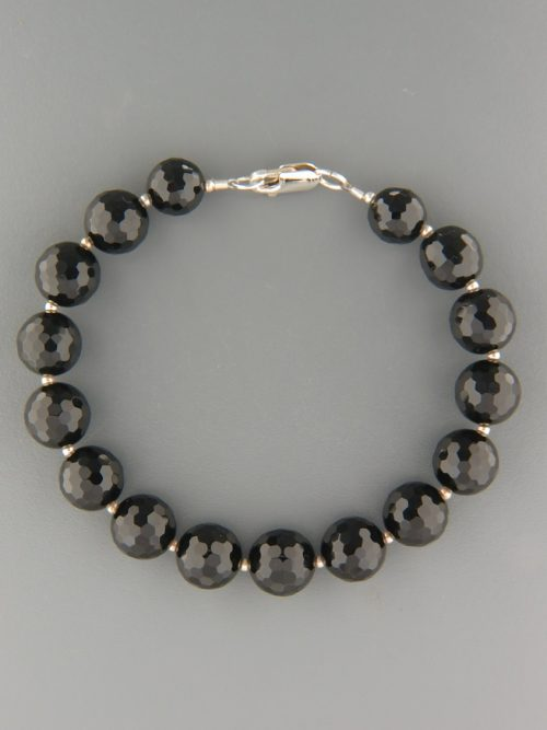 Onyx Bracelet - 10mm round faceted stones with Silver beads - OX907