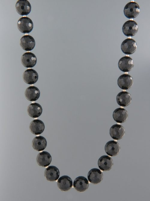 Onyx Necklace - 10mm round faceted stones with Silver beads - OX010