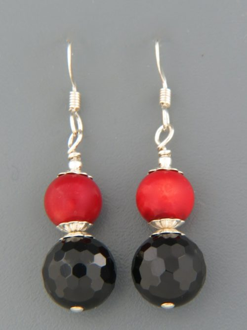 Onyx Earrings with Red Coral - Sterling Silver - CO517
