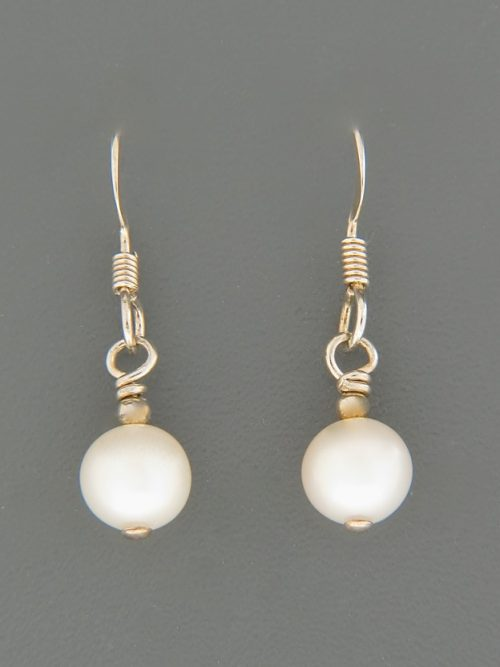6mm White Pacific Pearl Earrings - Sterling Silver - YW6S