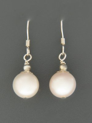10mm White Pacific Pearl Earrings - Sterling Silver - YW10S