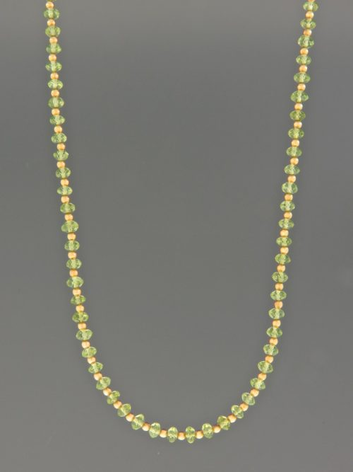 Peridot Necklace - 4mm faceted roundels with 2mm round beads - P002