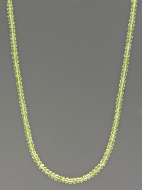 Peridot Necklace - 3.5mm faceted roundels - P013