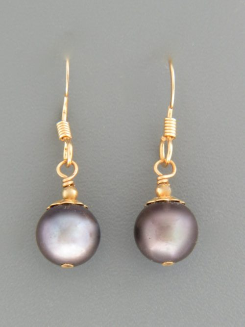 8mm Dark Pacific Pearl Earrings - 14ct Gold Filled - YD8G