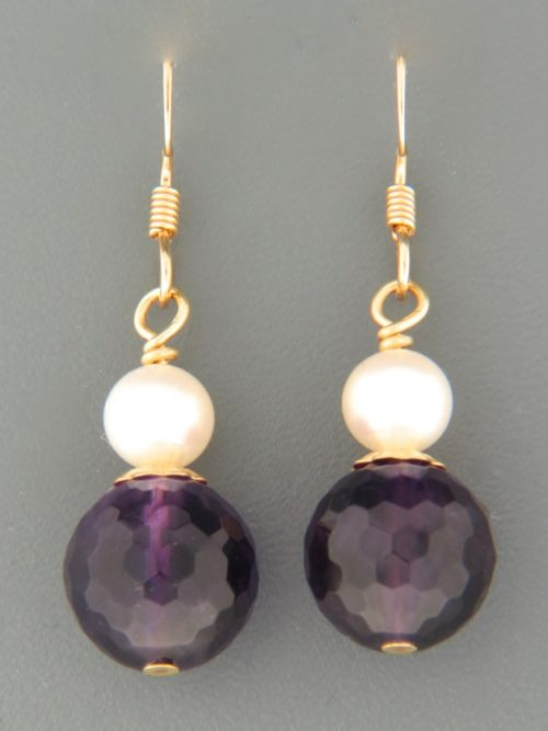 Amethyst Earrings with Pearls - 14ct Gold Filled - A657
