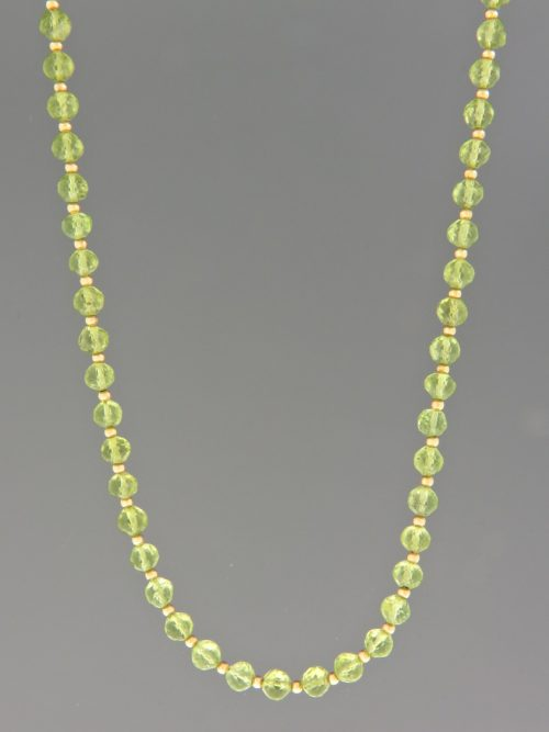 Peridot Necklace - 4.5mm faceted roundels - 45cm - P022