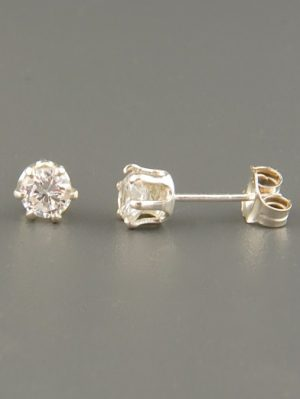 White Topaz Earrings - Sterling Silver stud - 4mm stones - WT504