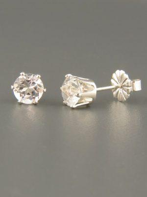 White Topaz Earrings - Sterling Silver stud - 5mm stones - WT505
