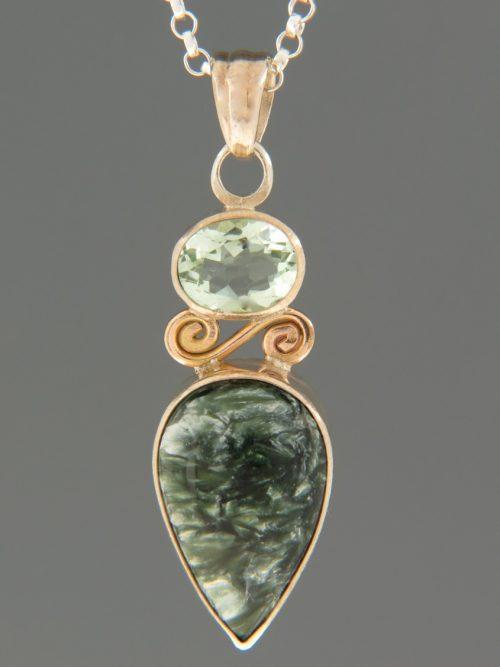 Seraphinite Pendant with Prasiolite - Sterling Silver - SE302