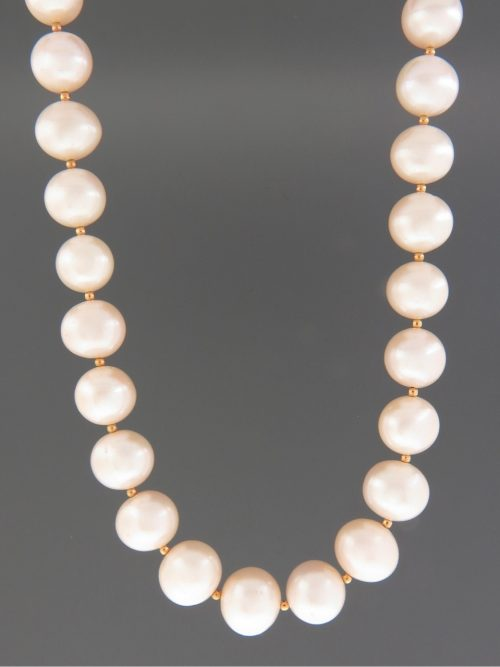 12mm Pearl Necklace with 2mm round beads - YW122N