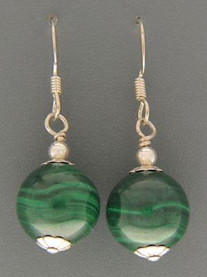 Malachite Earrings - Sterling Silver - 12mm stones - M515