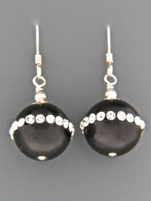 Onyx Earrings with Zircon - Sterling Silver - length 36mm - OX544