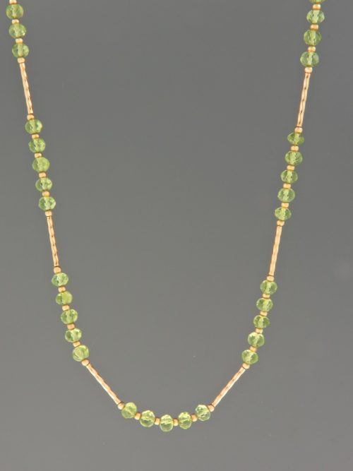 Peridot Necklace - 4mm faceted roundels with twist beads - 45cm - P030