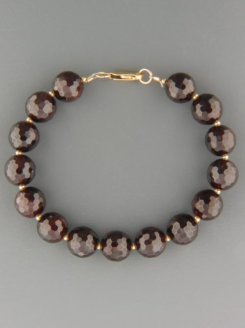 Garnet Bracelet - 10mm round faceted stones with round beads - G917