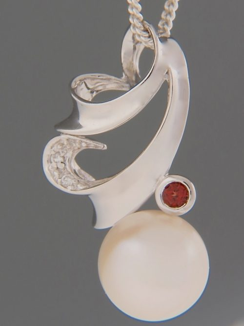 Pacific Pearl Pendant with Garnet & Zircon - Sterling Silver - Y459