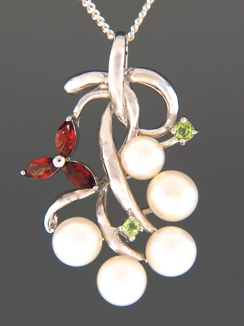 Pacific Pearl Pendant with Garnet & Peridot - Sterling Silver - Y460