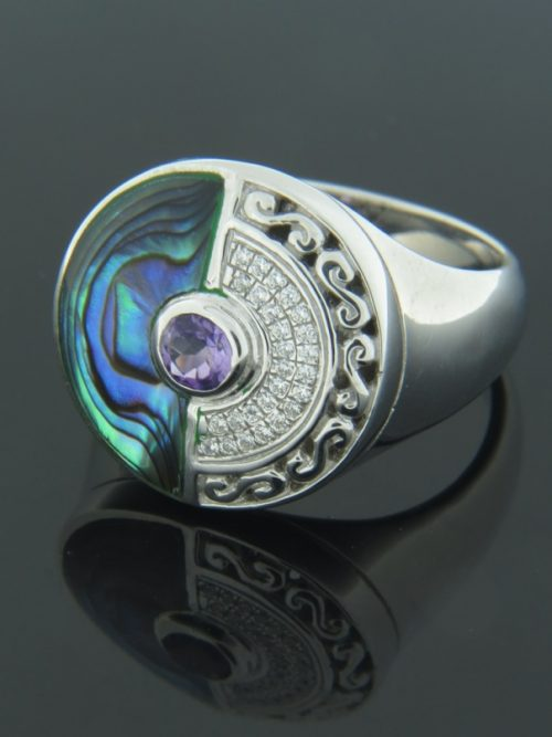Paua Shell Ring with Amethyst & Zircon - Sterling Silver - PA113R