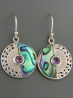 Paua Shell Earrings with Amethyst - Sterling Silver - PA551