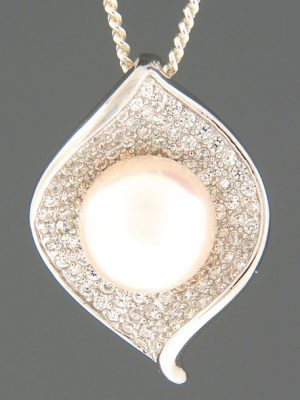 Pacific Pearl Pendant with Zircon - Sterling Silver - Y497