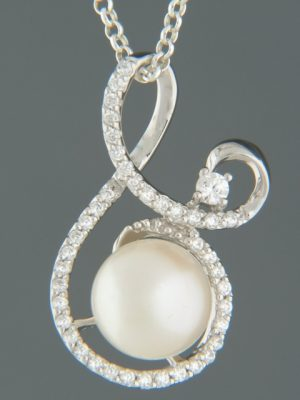 Pacific Pearl Pendant with Zircon - Sterling Silver - Y491