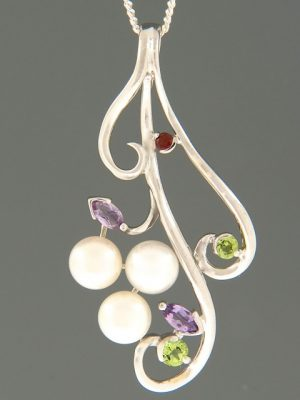 Pacific Pearl Pendant with Amethyst, Garnet & Peridot - Y494